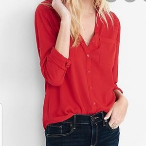 ⚡Flash🔥Express chiffon red button up blouse